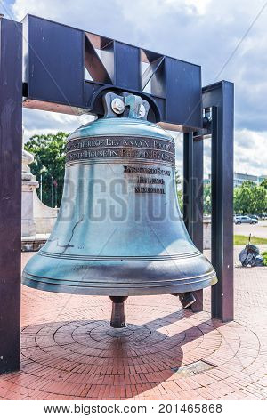 Washington Dc, Usa - July 1, 2017: Union Station On Columbus Circle With Closeup Of Memorial Bell