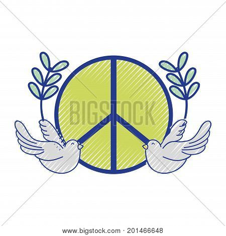 hippie emblem with doves and branches design vector illustration
