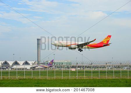 Bangkok Thailand - July 30 2017: Hongkong Airlines Plane landing to runways at suvarnabhumi international airport in Bangkok Thailand. This airport is one of the most populated airports in the world.
