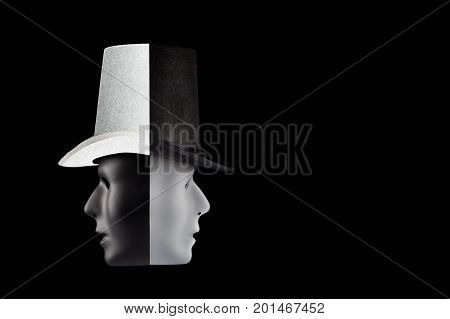Black and white masks wearing top hat looking in opposite directions isolated on black background with copy space. Double talk and hypocricy concept