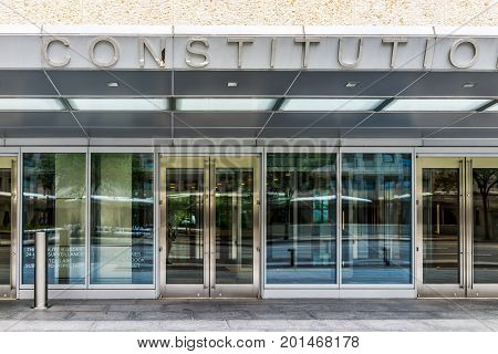 Washington Dc, Usa - July 3, 2017: Constitution Center Building Entrance Sign In Downtown