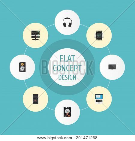 Flat Icons Datacenter, Laptop, Amplifier And Other Vector Elements