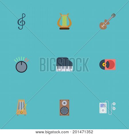 Flat Icons Quaver, Rhythm Motion, Mp3 Player And Other Vector Elements