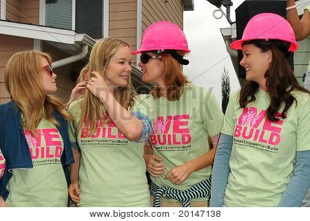 LOS ANGELES - MAY 14:  Kim Matula, Jennifer Gareis, Michelle Stafford, Heather Tom at the Habitat for Humanity Women's Empowerment Build at Carl Street on May 14, 2011 in Pacoima, CA