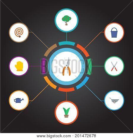 Flat Icons Wheelbarrow, Garden Hose, Pruner And Other Vector Elements