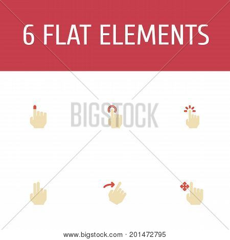 Flat Icons Enlarge, Strong Touch, Slide And Other Vector Elements