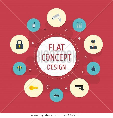 Flat Icons Explosive, Gun, Padlock And Other Vector Elements