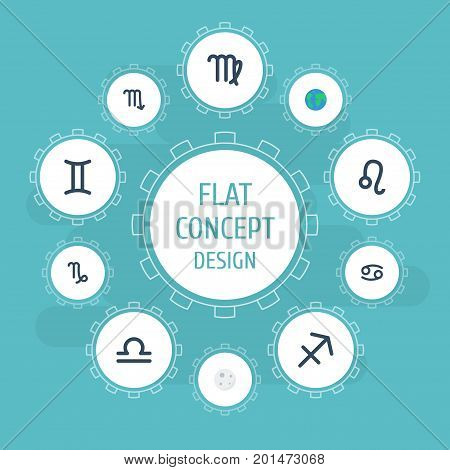 Flat Icons Twins, Zodiac Sign, Scales And Other Vector Elements