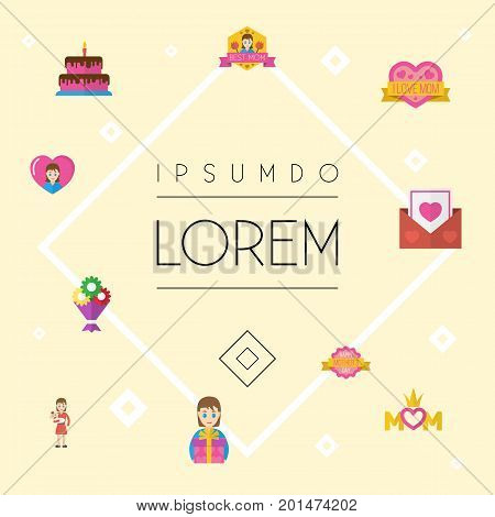 Happy Mother's Day Flat Icon Layout Design With Flower, Best Mother Ever And Queen Symbols