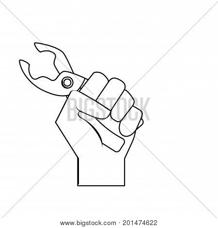 line pincers equipment service industry repair in the hand vector illustration poster