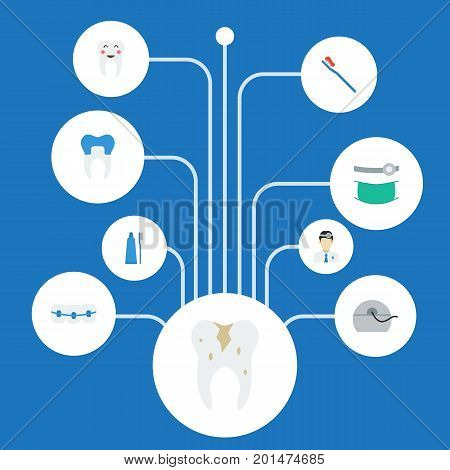 Flat Icons Dental Crown, Decay, Halitosis And Other Vector Elements