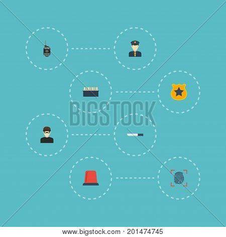 Flat Icons Signal, Walkie-Talkie, Thumbprint And Other Vector Elements