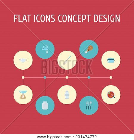 Flat Icons Soup Spoon, Kitchen Measurement, Silverware And Other Vector Elements