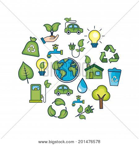 ecology conservation to natural environment protection vector illustration
