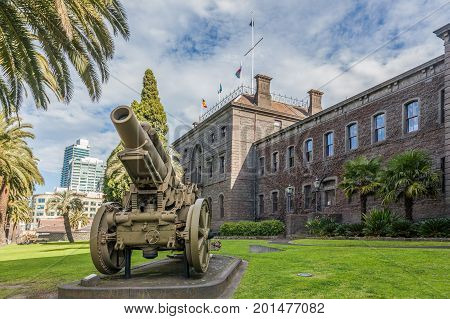 Melbourne Australia - July 29 2017: Vintage cannon in front of Victoria Barracks Museum in Melbourne