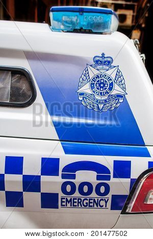 Melbourne Australia - July 29 2017: Closeup of Victoria Police vehicle with the badge and emergency number on it