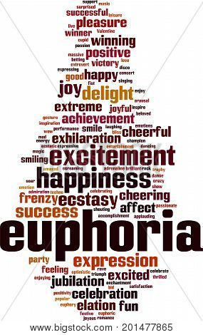 Euphoria word cloud concept. Vector illustration on white