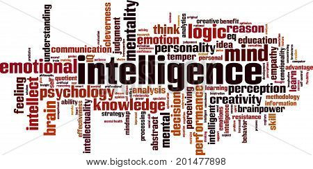 Intelligence word cloud concept. Vector illustration on white