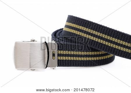 blue color canvas belt isolated on white background