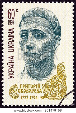 UKRAINE - CIRCA 1997: A stamp printed in Ukraine issued for the 275th anniversary of the birth of G.S.Skovoroda shows philosopher Gregory Skovoroda, circa 1997.