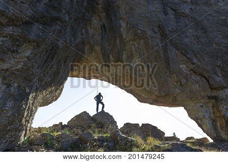 bird's eye view from mystic cave & explorer man