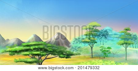 Panorama of African Savannah in a Hot Summer Day. Acacia Tree in a Mountains. Digital Painting Background Illustration in cartoon style character.