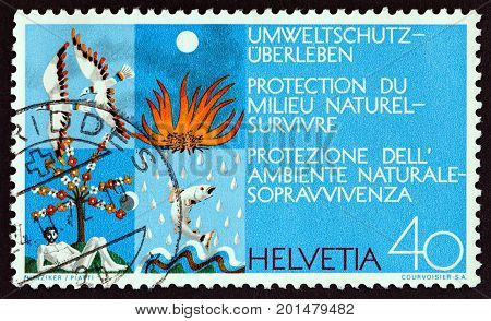 SWITZERLAND - CIRCA 1972: A stamp printed in Switzerland from the