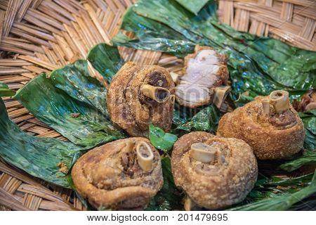 Crispy Pork Knuckle At Thai Street Food Market