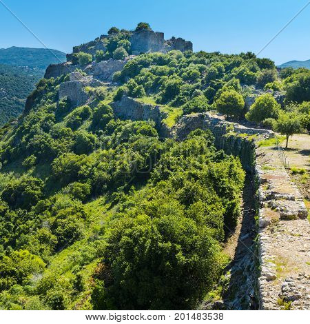 Remnants of castle on the Golan Heights near the Israeli border with Syria. The Nimrod Fortress National Park of Israel scenery on the slopes of mount Hermon.