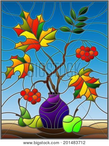 Illustration in stained glass style with autumn still life branches of mountain ash and maple in purple vase and fruit on a blue background