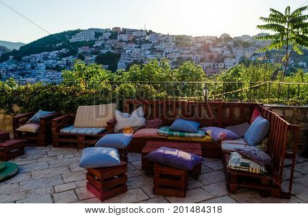 Resting place in old town Stari Grad of Ulcinj Montenegro