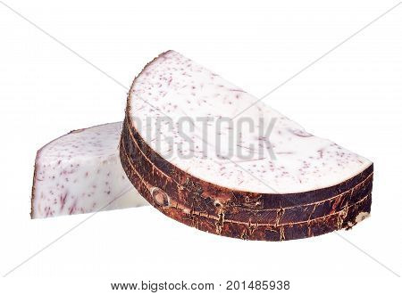 Slice Of Taro Isolated On White Background