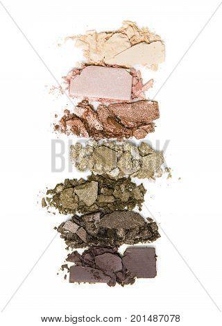 Smashed, neutral toned eyeshadow make up palette isolated on white background