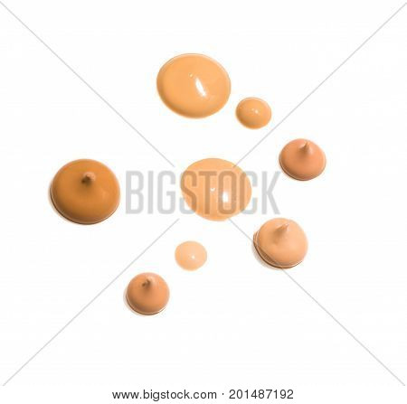 drops of various Liquid Foundation isolated on white background
