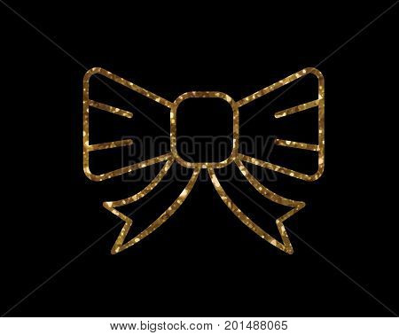 Vector Golden Glitter Gift Ribbon Line Icon