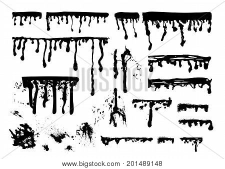 Ink paint streaks, spots and splatters set isolated on white background.