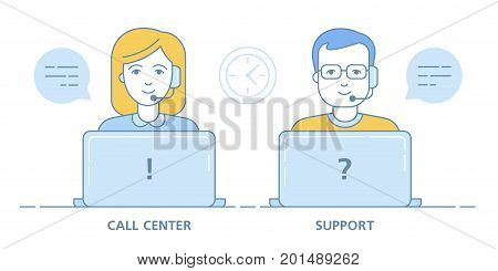 Call center and technical support. Female and male avatars of the hot line. Sale by phone. Linear Art. Vector illustration. Portrait of on a white background