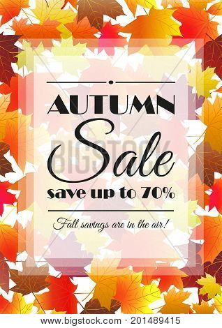 Autumn sale poster, flyer, card template. Bright fall maple leaves. Vector illustration.