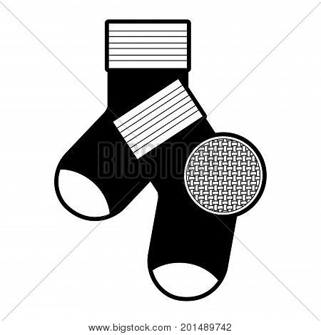 black sections silhouette of pair of socks and circle of macro textile pattern vector illustration