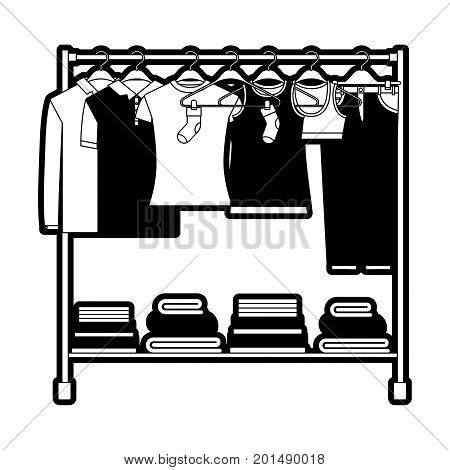 black sections silhouette of clothes rack with t-shirts and pants on hangers and fold clothes on bottom vector illustration