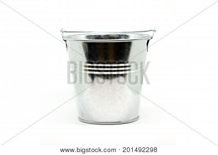 Small metal zinc bucket empty on a white background