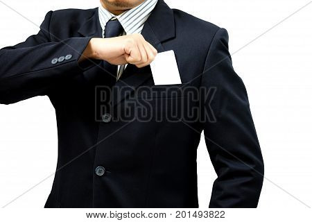 Hand of businessman wearing a suit holding a blank card isolated on white background with clipping path man and card