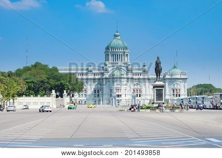 Bangkok Thailand - February 4 2017: The atmosphere of Equestrian Statue of King Chulalongkorn Rama V Located in front of Ananta Samakhom Throne Hall