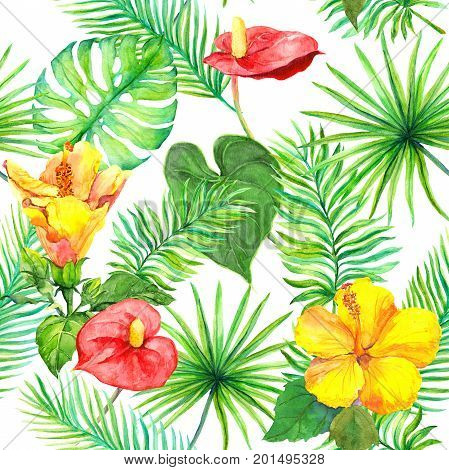 Tropical leaves and exotic flowers. Seamless jungle pattern. Watercolour