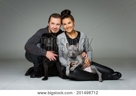beautiful middle aged couple with thai ridgeback puppy and black shar pei dogs. studio shot on grey background. copy space.