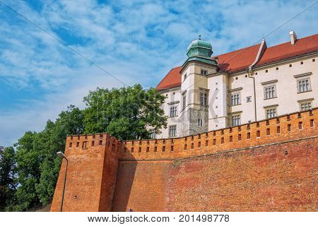 Krakow/Poland- August 14, 2017: Wawel Royal Castle, view of Jordan Tower and  defensive fortification. Medieval residence of kings.