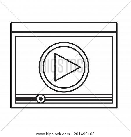 monochrome silhouette of window with start playback icon vector illustration