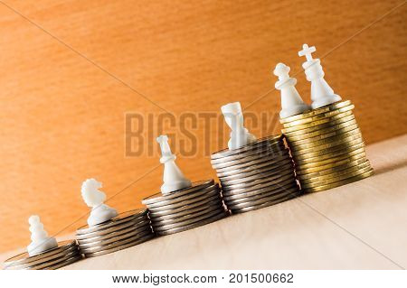 The concept of a career chess pieces located on coins according to their status