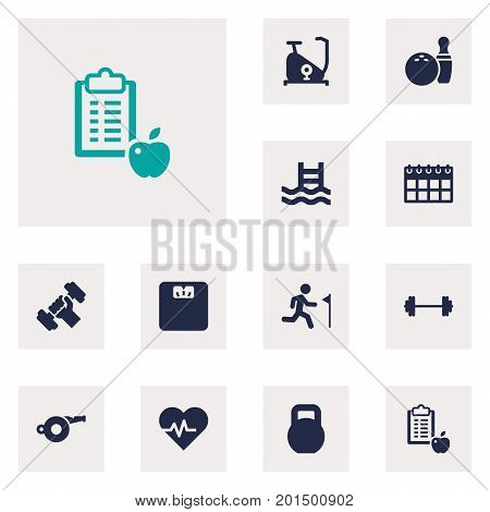 Collection Of Regime, Weights, Kegling And Other Elements.  Set Of 12 Fitness Icons Set.