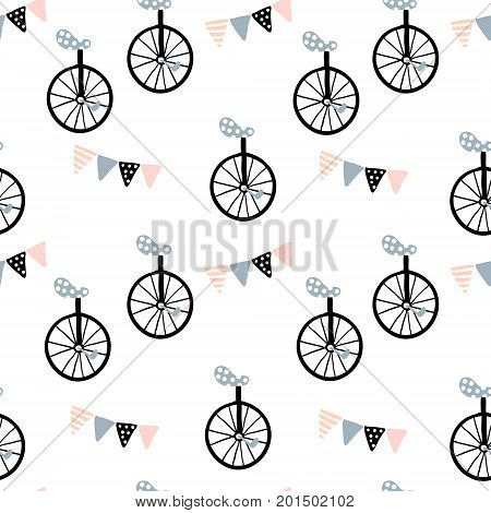 Seamless pattern with monocycle and Flag garland. Childish texture for fabric textile. Vector background